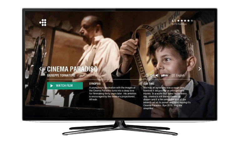 Cinema Paradiso showing on a TV running MUBI