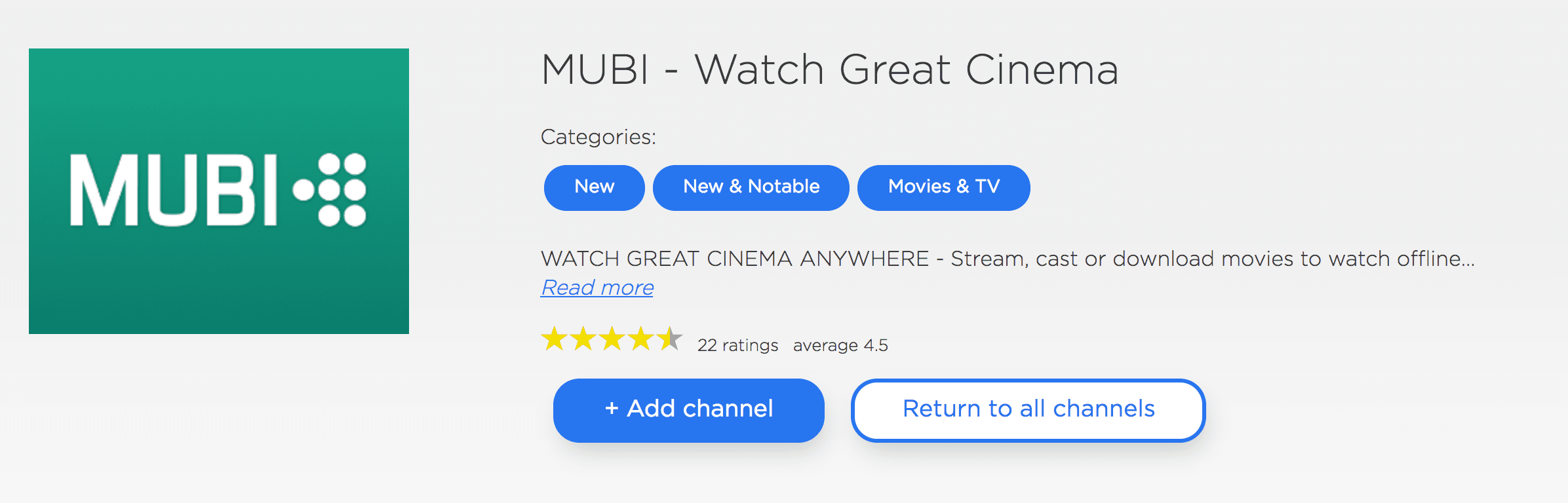 MUBI on Roku website